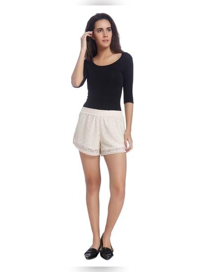 Off White Elasticated Lace Shorts