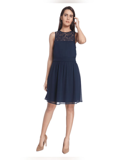 Navy Lace Skater Dresses