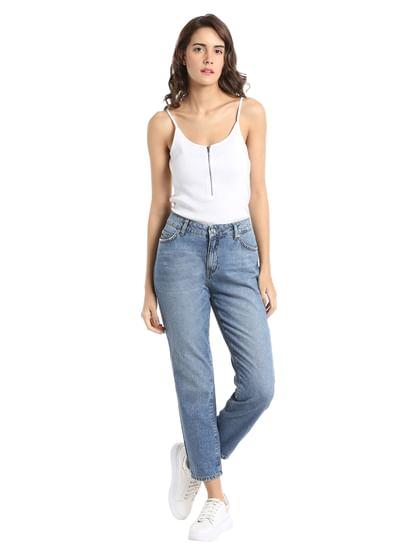 Blue Mid Rise Comfort Fit Jeans