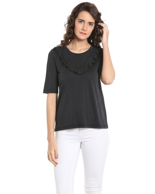 Black Frill Detail Top