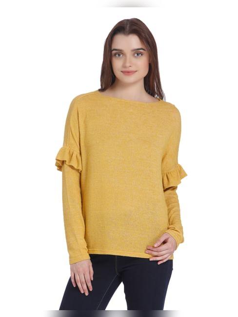 Yellow Ruffle Detail Boat Neck Sweater