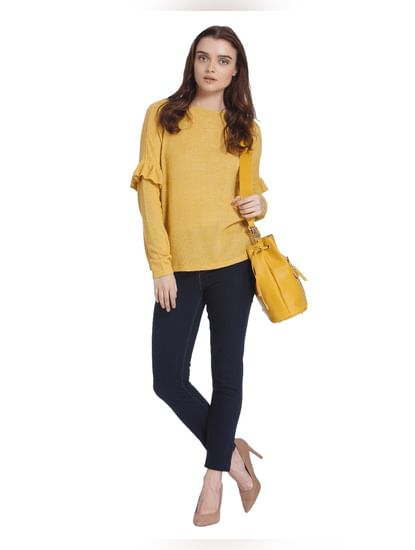 Yellow Ruffle Detail Boat Neck Sweater