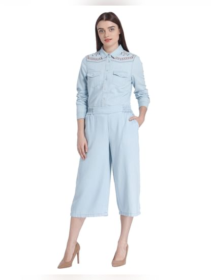 Light Blue Denim Culottes Pants