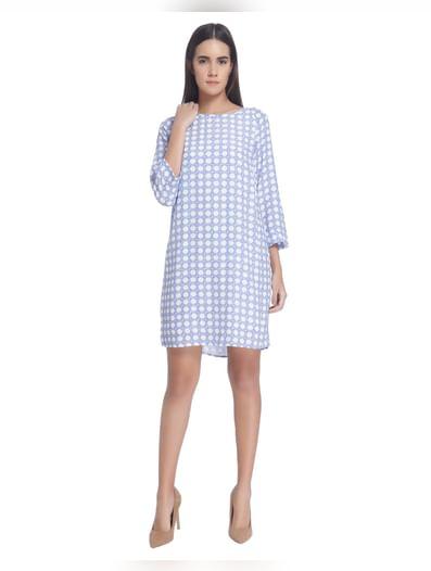 White/Blue Printed Shift Mini Dress