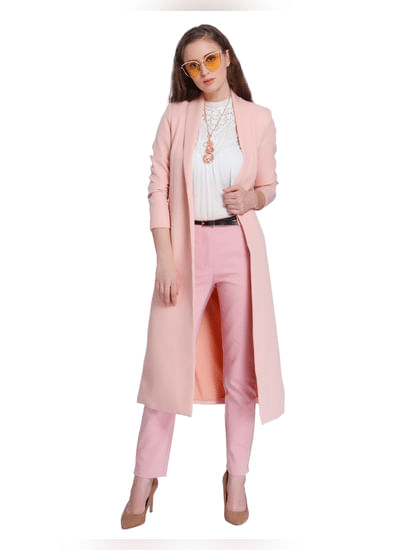Pink Ankle Length Mid Rise Slim Fit Pants