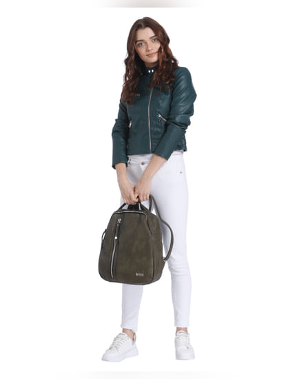 Green Pu Cropped Jacket