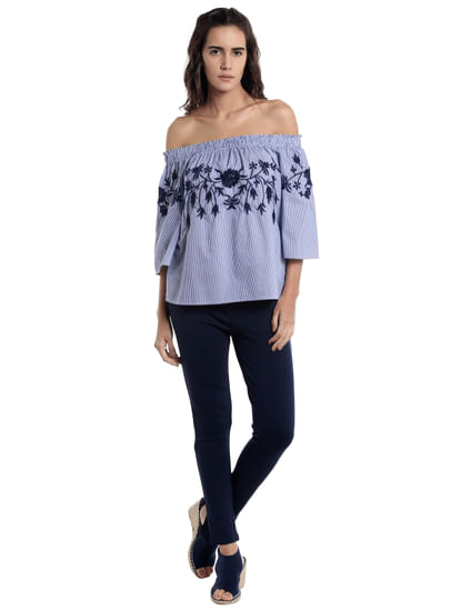 Purple Striped Embroidered Off Shoulder Top