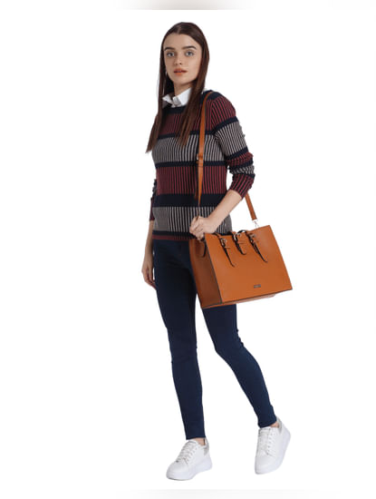 Maroon Striped Sweater