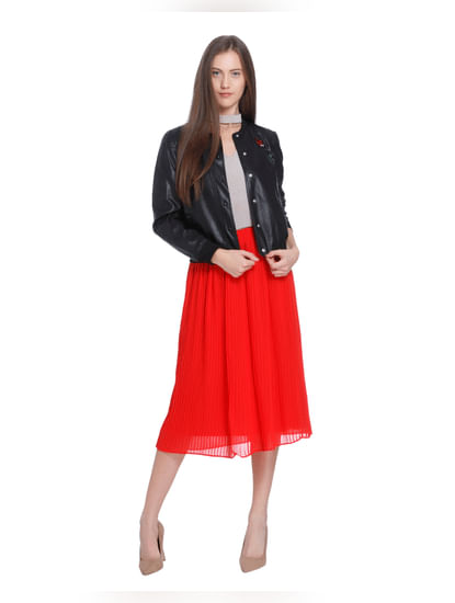 Scarlet Pleated Midi Skirt