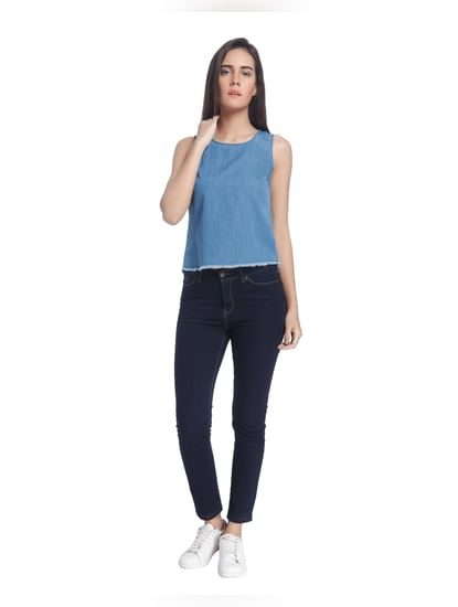 Blue Denim Solid Sleeveless Top