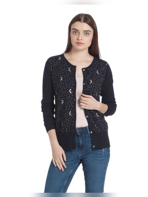 Dark Blue Bird Print Cardigan
