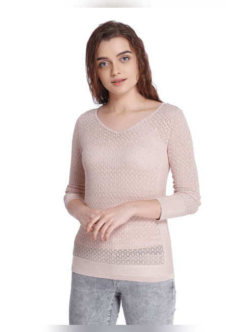 Pink Placement Knit Sweater