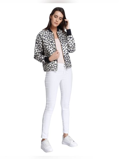 White Leaf Print Bomber Jacket