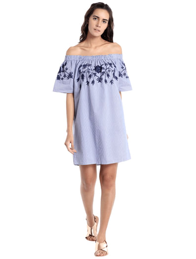 Purple Off Shoulder Embroidered Mini Dress