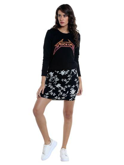 Black Flora & Fauna Print Short Dress