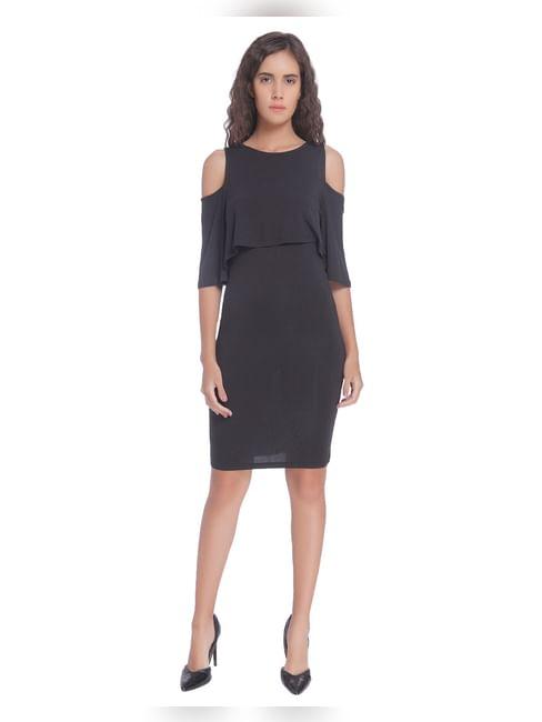 Black Overlay Short Dress