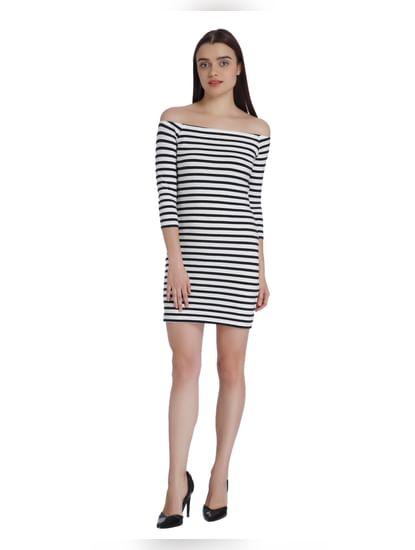 Black & White Striped Off Shoulder Mini Dress