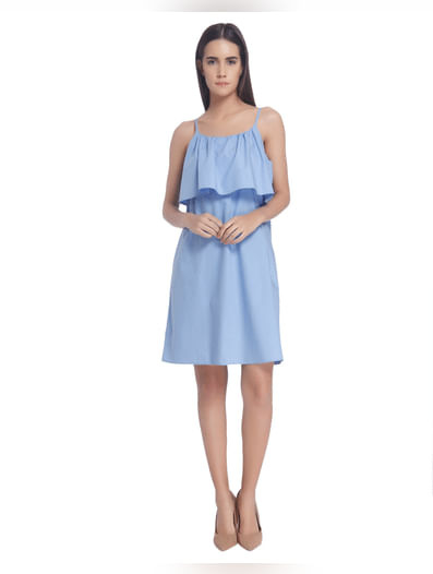 Blue Solid Shift Mini Dress