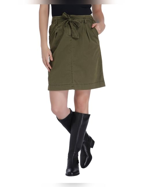 Olive Green Short Skirt