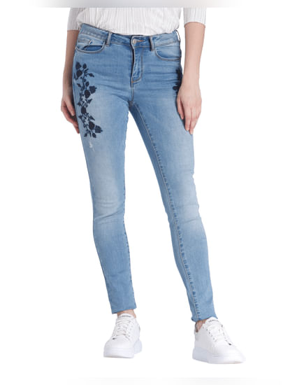 Blue Embroidered Slim Fit Jeans