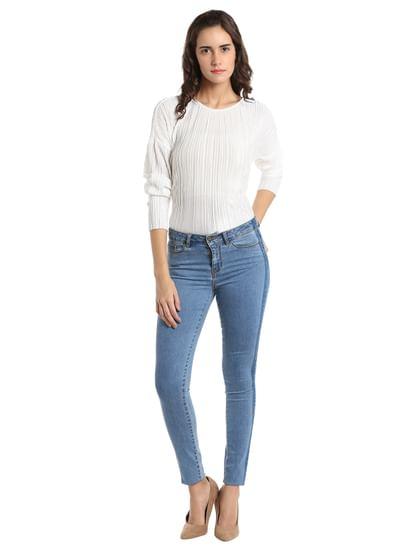 Blue Ankle Length Slim Fit Jeans