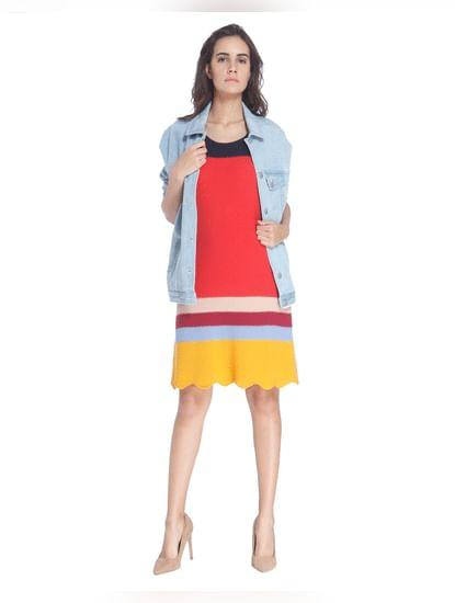 Colour Blocked Sheath Dress