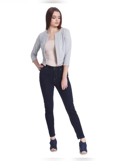 Grey Ribbed Cropped Blazer