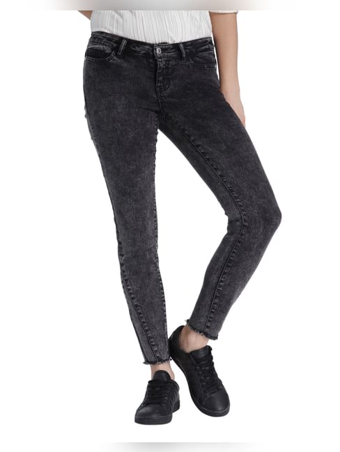Dark Grey Stone Washed Low Waist Slim Jeans