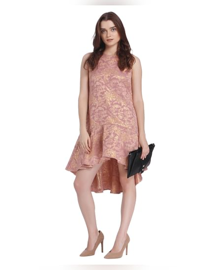 Deep Pink Jacquard Mini Dress
