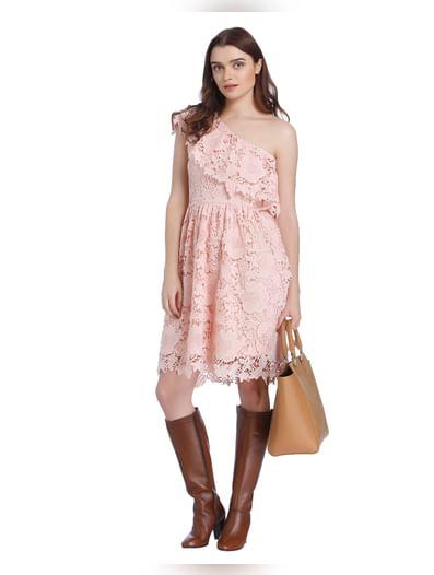 Pink One Shoulder Lace Mini Dress