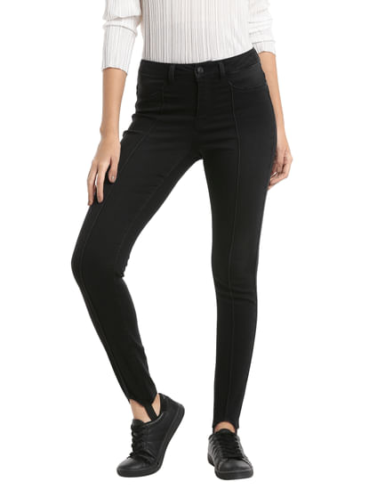 Black Slim Fit Stirrups Jeggings