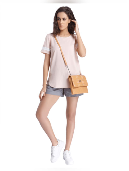 Peach Top With White Striped Sleeves