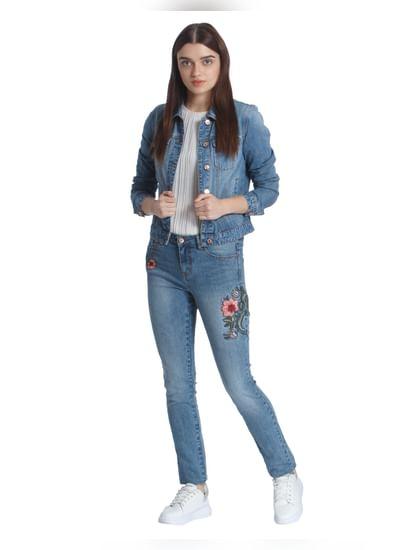 Light Blue Floral Embroidered Slim Fit Jeans