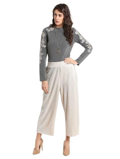 Light Grey Embroidered Sweatshirt