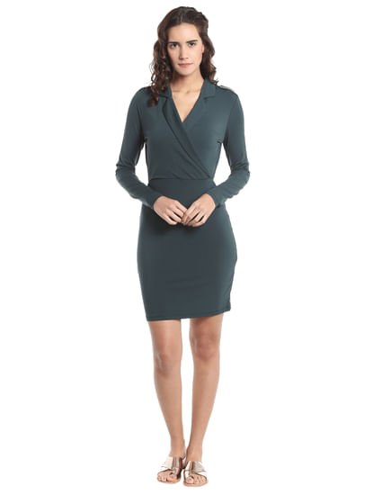 Green Collared Bodycon Dress