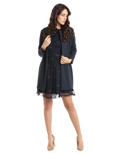 Dark Blue Printed Mini Dress