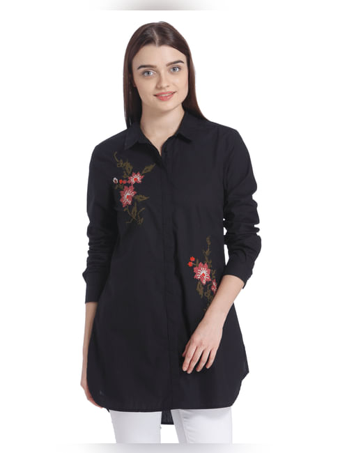 Black Floral Embroidered Shirt