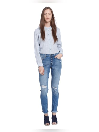 Dark Blue Button Down Slim Jeans