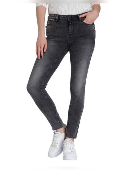 Dark Grey Regular Waist Slim Fit Jeans