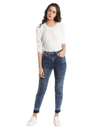 Dark Blue High Waisted Slim Jeans