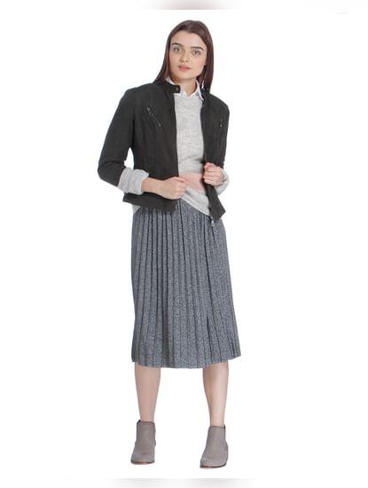 Light Grey Coloured Blocked Sweater