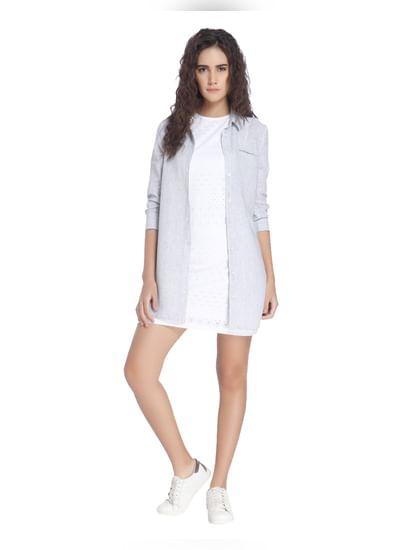 Grey Linen Long Shirt
