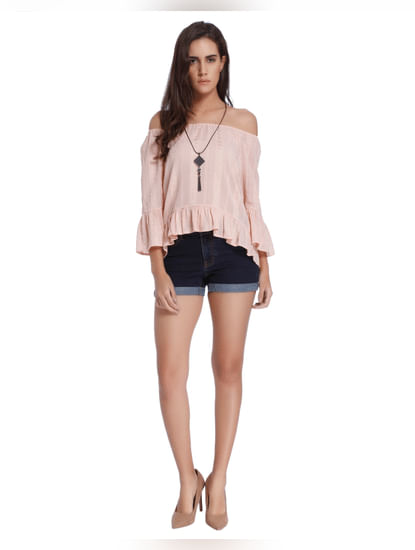 Peach Flared Sleeve Top