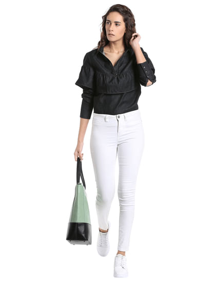 Black Frill Detail Denim Top