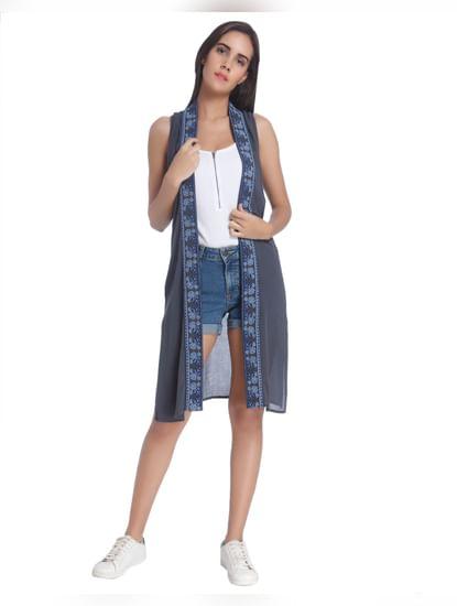 Blue Panelled Long Jacket