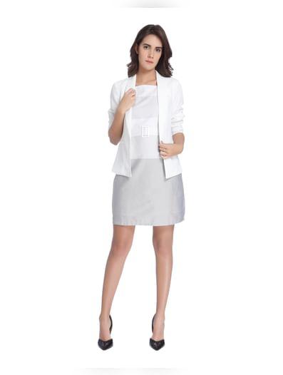 White Colour Blocked Mini Dress