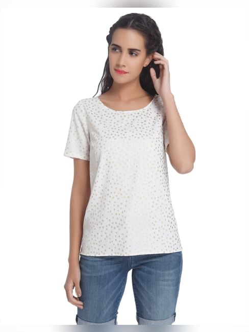 Gold Polka Dotted White Top