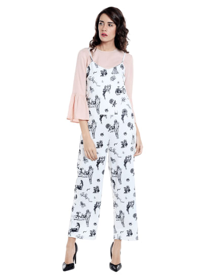 White All Over Print Strappy Jumpsuit
