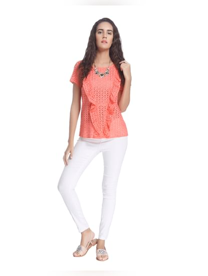 Peach Top In Hakoba Lace