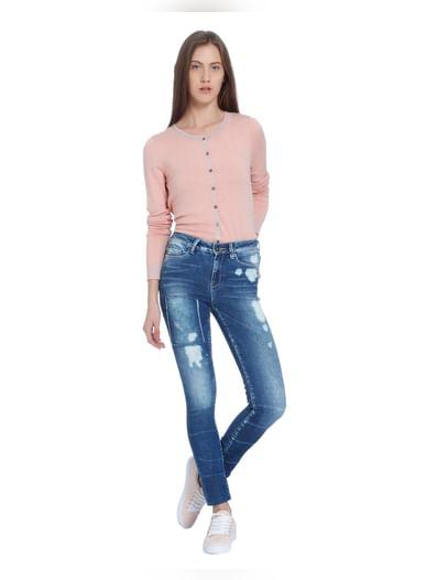 Blue Washed Super Slim Jeans
